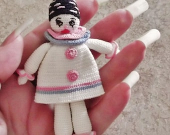 Fast Action ReQuired  One Available With Fast Shipping:)  Crochet Thread Item Tiny PIERROT Doll