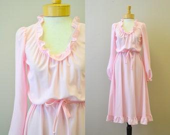 1970s Pink Ruffled Dress