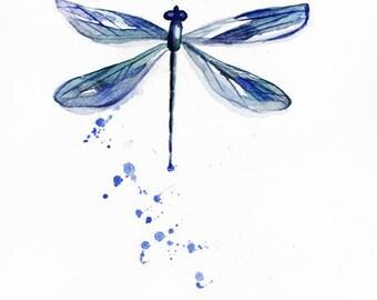 Original watercolor DRAGONFLY, painting watercolor, original art, decor for home,  Nature Illustration, dragonfly decor, dragonfly Art OOAK