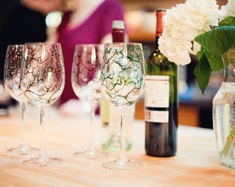 Painted Wine Glasses - The Four Seasons Wine Glasses - 4 Piece Painted Wine Glass Collection
