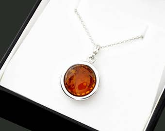 Chain Baltic Amber Necklace, Chain Necklace For Her, Silver Necklace For Wife, Boho Necklace For Sister, Jewelry Gift Ideas For Girlfriend
