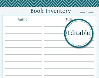 Book Inventory (also included is the Lent Items Printable) - Fillable - Printable PDF - Instant Download