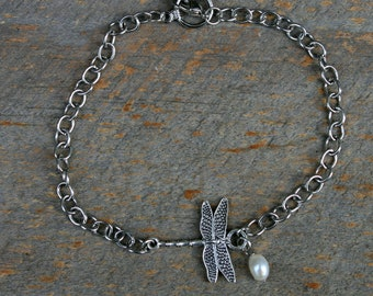 Dragonfly Anklet, Dragonfly Jewelry, Freshwater Pearl Jewelry, Ankle Bracelet