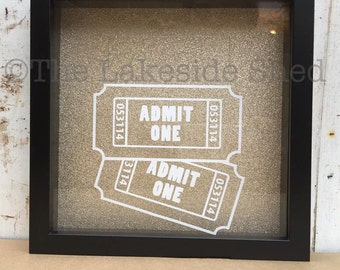 Admit One | Ticket Shadow Box | Shadow Box Ticket | Ticket Stub Box | Admit One Shadow Box | Ticket Memory Box | Memory Box | Ticket Box