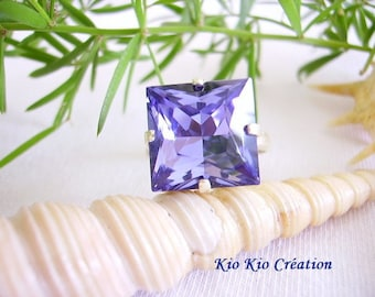 Ring cabochon silver plated square cube, Crystal, purple, open adjustable, silver, metal ring, women's fashion jewelry
