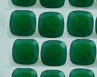 Natural Green Onyx- 12mm Faceted Cut Cushion Calibrated Size - Top Quality Green Color - Natural Loose Gemstone