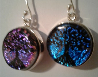 Dichroic Glass Tree of Life Earrings