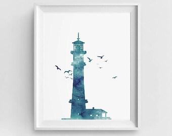 Lighthouse Print, Blue Teal Lighthouse, Coastal Wall Art, Lighthouse Printable, DIY Wall Art, Large Wall Art, Sea Wall Décor, Ocean Art