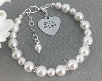 Sister in Law Charm Bracelet Pearl Bracelet Sister of Bride Charm Bracelet Sister of Groom Charm Bracelet Sister in Law Gift