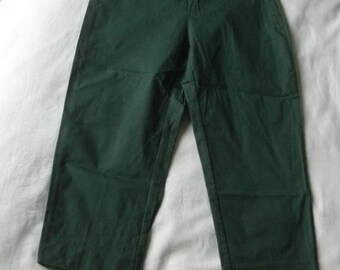 Romeo Gigli Green Dark Green Cotton Blend Deadstock Unworn Vintage Cropped Pants 1990s Extra Small-XS