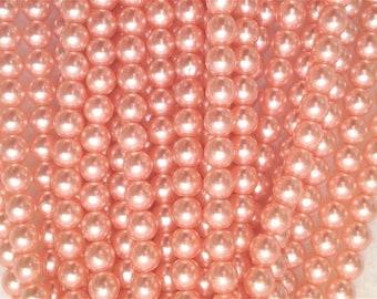 LAST 75 4mm PRETTY PEACH Round Czech Glass Pearls