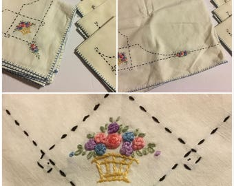 Hand Embroidered Tablecloth & Four Napkin Set Cotton Linens Lot