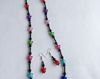 Bright star necklace with earrings