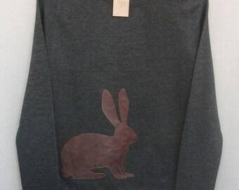 Leather Hare Jumper Dark Grey Heather Lightweight Crew Neck Sweatshirt