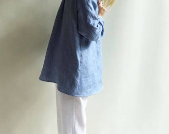 Linen Jacket, Linen Work Coat, Linen Shirt Jacket Women Large, Plus Size Jacket, Blue Jacket Women Linen Shirt Linen Coat Linen Jacket Denim