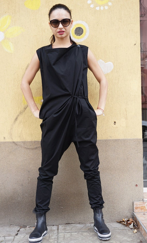 Black Cotton Drop Crotch Overall, Party Oversized Asymmetric Extravagant Jumpsuit, Clubwear,  Sexy Chic Romper, Oversized Jumper, Fall