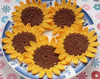 5 Crochet Sunflowers In Glod and Brown YH-016