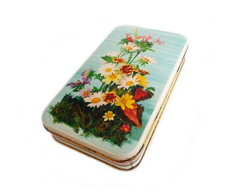 Vintage Candy Tin with Flowers - Old Floral Tin Box - Collectible Candy Tin Can from Italy - 1970s