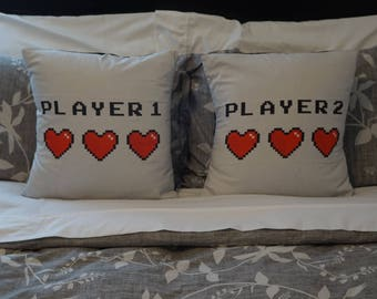"Video Games ""Player 1 and Player 2 (and Player 3)"" 18 x 18 inch Throw Pillow Cover Set, Pillows NOT Included"