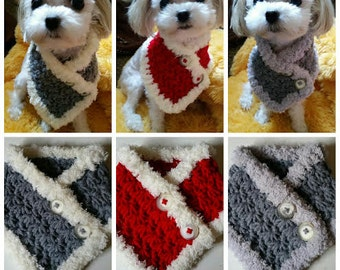 Crocheted Small Dog Neck Warmer, Puppy Neck Warmer, Dog scarf. Choose from 3 Colors fits most S or M dogs