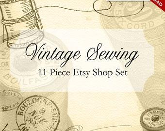 Custom Etsy Banner and Avatar Design Set - 11 Piece Vintage Sewing DIY Template - vte - Ephemera Embroidery Thread Knitting Scissors Spool