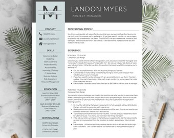 Modern Resume Template For Word And Pages (1, 2 U0026 3 Page Resumes +
