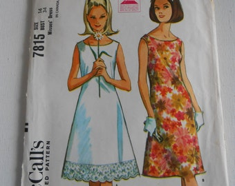 McCalls 7815 Vintage 60s Summer A Line Sleeveless Shift Dress Sewing Pattern Size 14 Bust 34