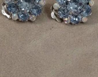 ROSENBERG Clip On Earrings, Blue Rhinestone Choker, 2 Piece Set, Romantic, Romantic, Pastel Blue Rhinestones, Silver Tone Set