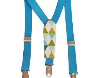 Kids fabric Scandinavian geometric pattern straps and turquoise elastic