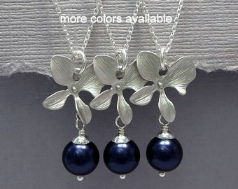Orchid Necklace, Navy Necklace, Dark Blue Necklace, Dark Blue Wedding, Bridesmaid Necklace, Wedding Necklace, Bachelorette Party Gift