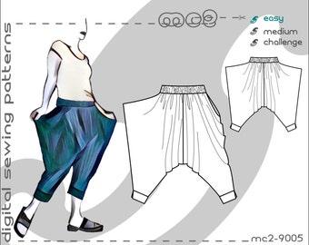 Harem Sarouel Afghan Pants with Side Drapes (sizes S-M-L-XL) Digital PDF Sewing Pattern for Women >mc2patterns< mc2-9005