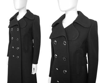 PIERRE CARDIN 1960s Vintage Mod Coat Black Wool Suede Leather Midi Maxi Space Age Jacket US Size 4-6 Xs-Small