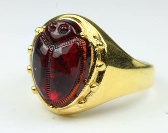 Beautiful Gold Plated Glass Egyptian Scarab Ring  Size: Q 1/2 - 8 1/2