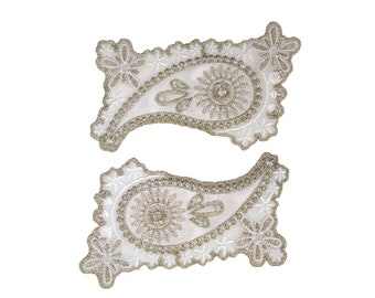 Paisley Floral Iron On Applique, Floral Iron On Patch, Flower Applique, Flowers Patch, Wedding Applique, Wedding Patch, Embroidered Patch