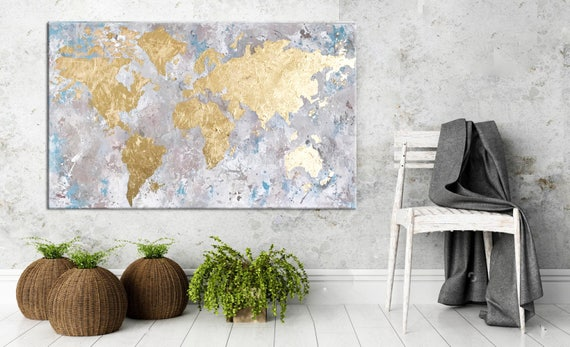 World map painting gold leaf art gold leaf painting like this item gumiabroncs Gallery