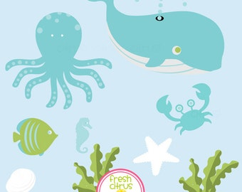 Under the Sea Clip Art Shell Crab Whale Starfish