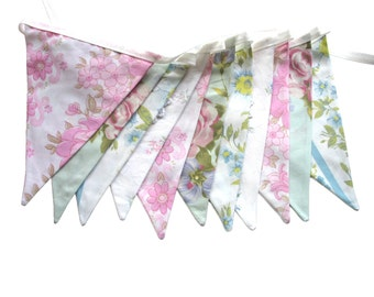 Vintage Wedding Bunting - Retro Pink, Blue & Doily Lace, Pastel Floral Flags. Shabby Chic, Birthday Party Decoration, Engagement Parties,