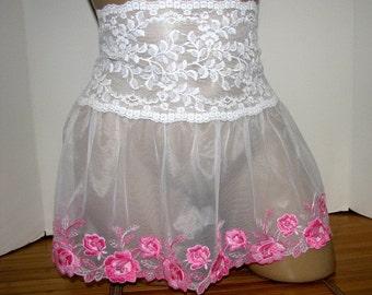 Pretty Girl / Crossdresser Frilly Sheer Skirt Slip for your Sissy Panties Sizes XS S M L XL XXL