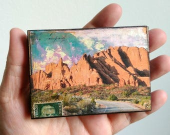 "Utah Art, Mini Original, Mixed Media Photography, Arches National Park, Moab Art, Red Rock Moab Gift, ACEO Wood Block 2.5"" x 3.5"", ""Moab IV"""