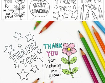 Thank you Teacher Labels - Printable sheet of 8 labels, 4 designs - teacher appreciation, thank you teacher gift tag - Instant Download L017