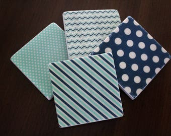 Stone Coasters - Navy and Mint Patterns // Tumbled Marble Tile Coasters // Set of 4 // Hostess Gift // Housewarming Gift