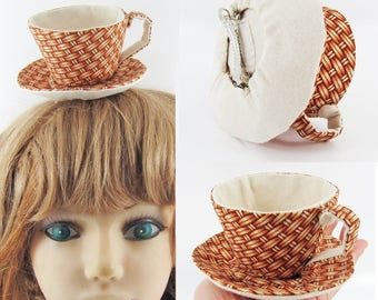 MADE-TO-ORDER ( 1 - 2 Weeks)- Teacup Fascinator (Hair Clip for Children & Adults)- Wicker Basket Print