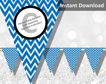 Blue Chevron Bunting Pennant Banner Instant Download, Party Decorations