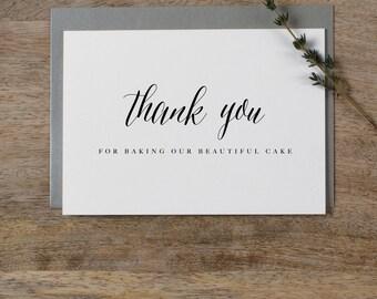 Thank You For Baking - Wedding Cake Baker Card, Card For Your Wedding Cake Designer, Wedding Card, Wedding Thank You, Wedding Baker Card, K7