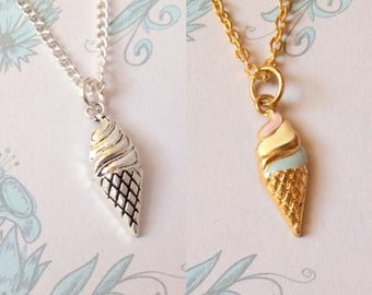 Ice Cream Necklace, summer necklace, summer jewelry, boho necklace,  funky pop necklace, miniature food jewelry, enamel pins, kawaii charm