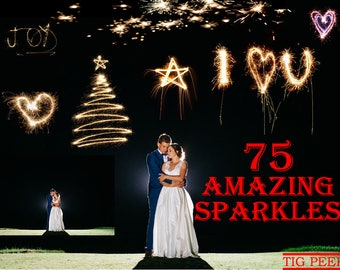 75 SPARKLERS LIGHT Photoshop Overlays, sparkles wedding, long exposure layer, Digital Sparklers, sparkles christmas Light effect night photo