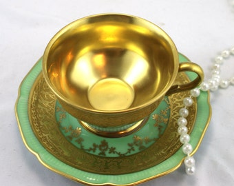 Reserved for MA.Stunning, 22 K Gold Plated DW Karlsbader Chocolate/Espresso Duo,Pastel Green Gilded Design, Bone German China made in 1940s