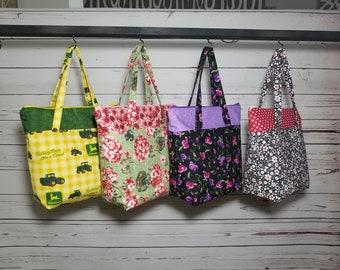 Tote Bag with Zipper Closure/John Deere/Hydrangea/Flowers