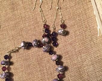 Purple mosaic turquoise bracelet