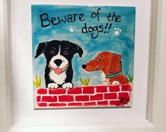Hand painted ceramic tile personalised with your pet!
